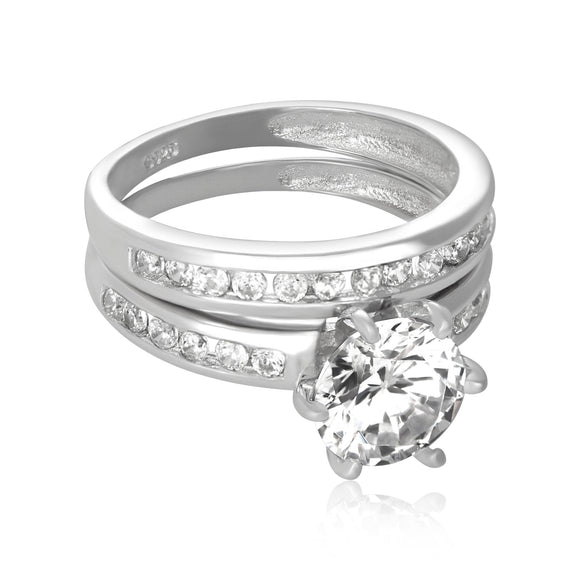 RSZ-3002 Channel Set CZ Wedding Ring Set | Teeda