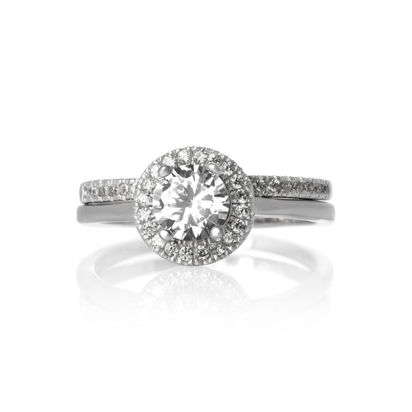 RSZ-3003 Halo Nouveau CZ Wedding Ring Set