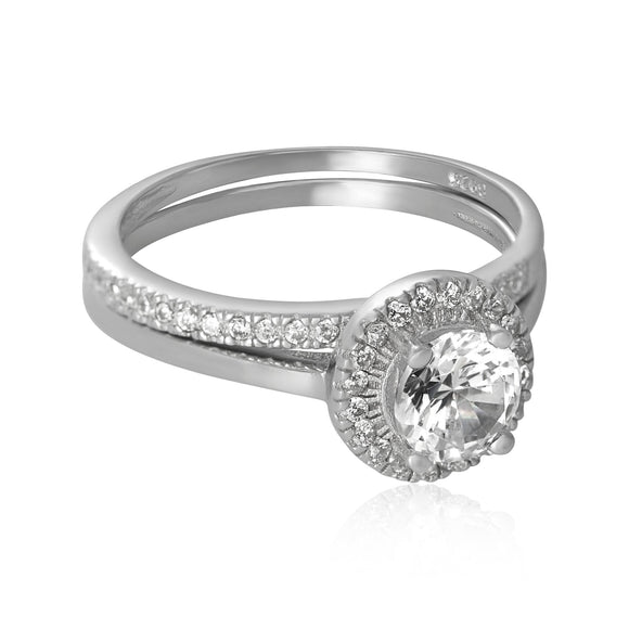 RSZ-3003 Halo Nouveau CZ Wedding Ring Set | Teeda