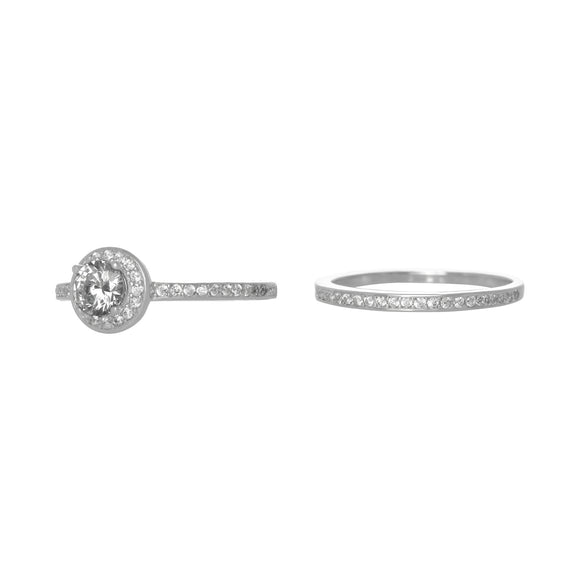 RSZ-3005 Halo Cubic Zirconia Wedding Ring Set