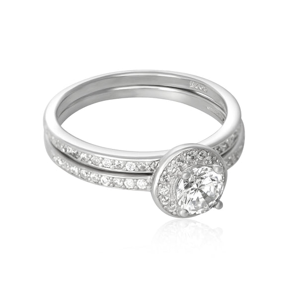 RSZ-3005 Halo Cubic Zirconia Wedding Ring Set | Teeda