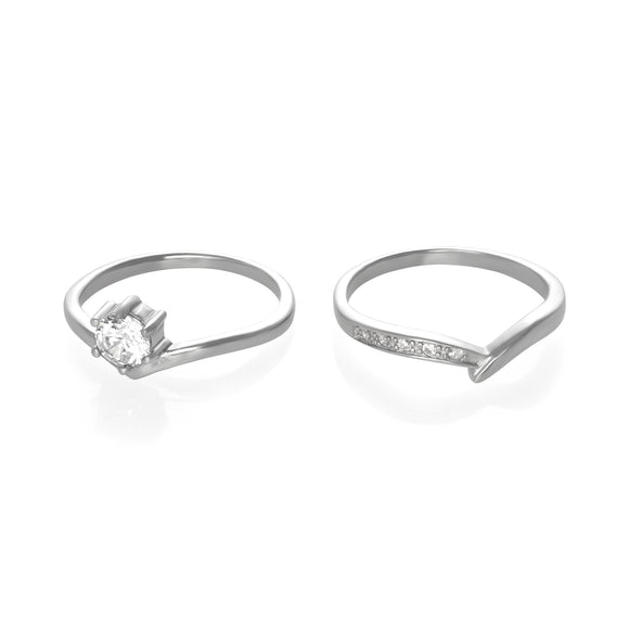 RSZ-3006 Cubic Zirconia Wedding Ring Set