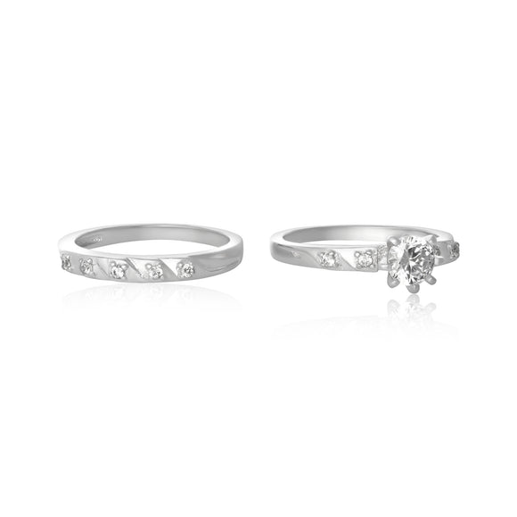 RSZ-5002 Cubic Zirconia Wedding Ring Set