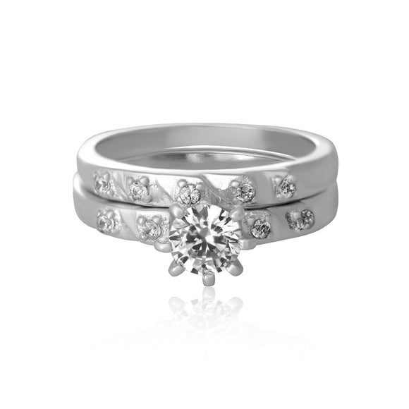 RSZ-5002 Cubic Zirconia Wedding Ring Set | Teeda