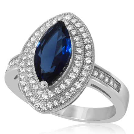 RZ-1644-BS Marquise Cut Micropave Cubic Zirconia Ring - Blue Sapphire | Teeda