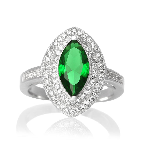 RZ-1644-E Marquise Cut Micropave Cubic Zirconia Ring - Emerald | Teeda