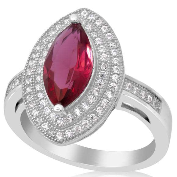 RZ-1644-SR Marquise Cut Micropave Cubic Zirconia Ring - Ruby | Teeda