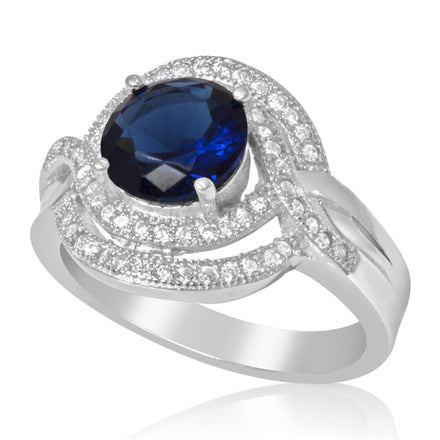 RZ-1647-BS Micropave Cubic Zirconia Ring - Blue Sapphire | Teeda