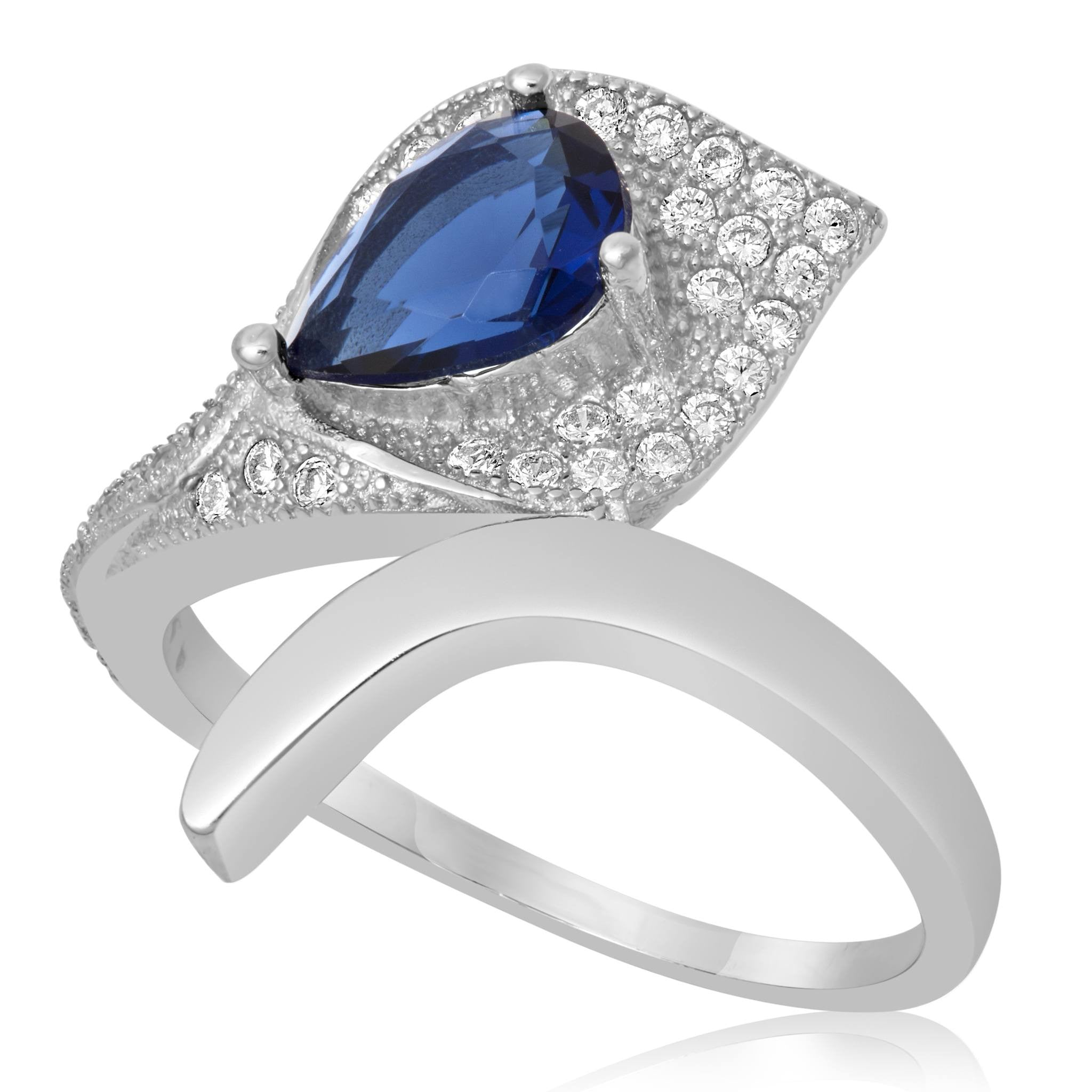 RZ-1652-BS Pear Shape Micropave Cubic Zirconia Ring - Blue Sapphire | Teeda