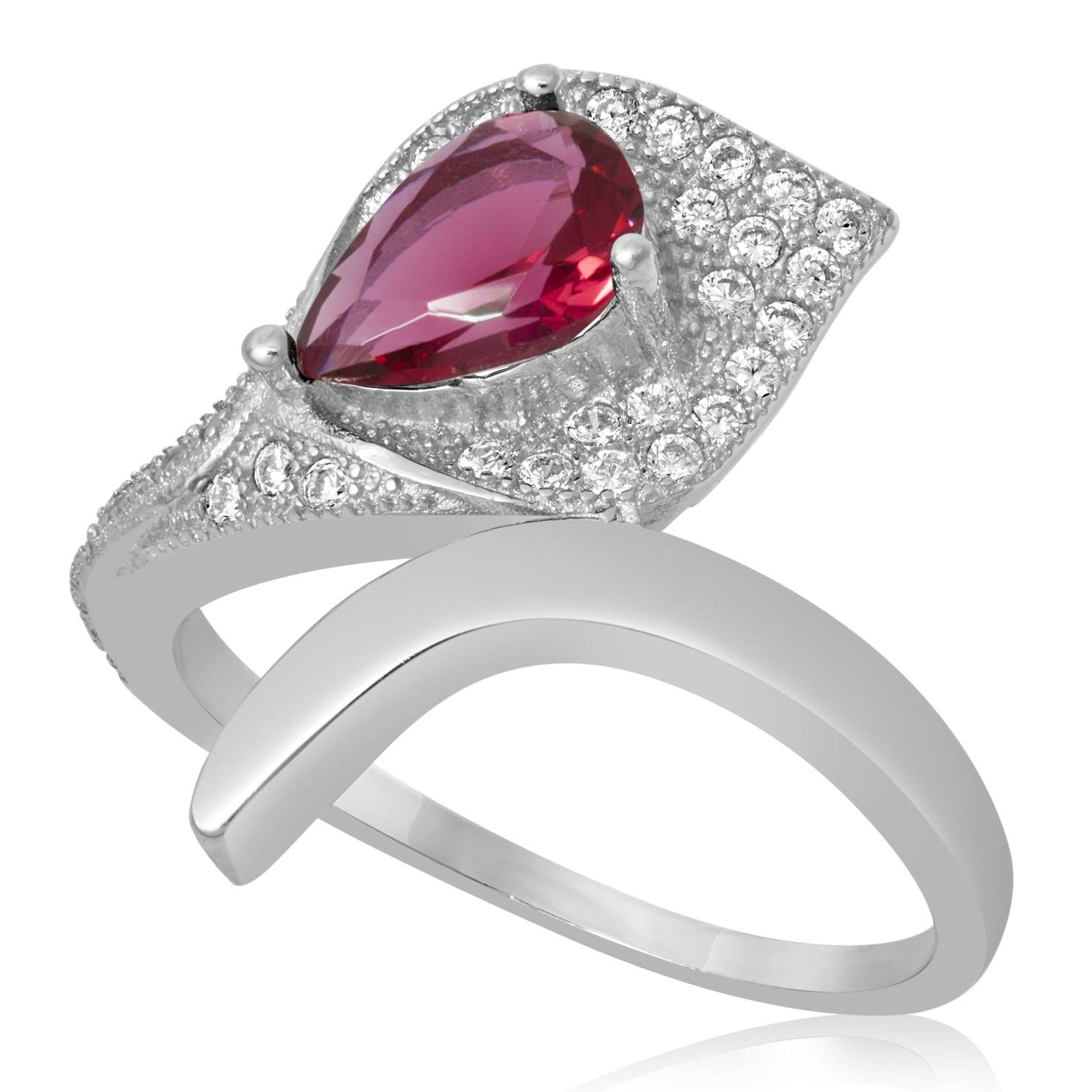 RZ-1652-SR Pear Shape Micropave Cubic Zirconia Ring - Ruby | Teeda