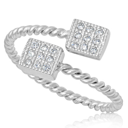 RZ-1654 Micropavé Cubic Zirconia Twist Wire Ring | Teeda
