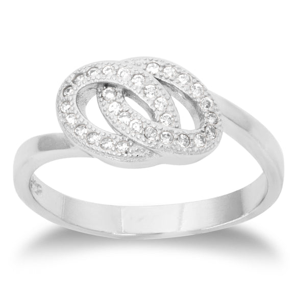 RZ-1657 Interlocked Ovals CZ Ring | Teeda
