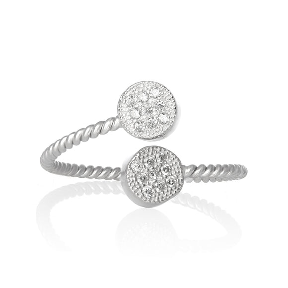 RZ-1658 Micropavé Cubic Zirconia Twist Wire Ring | Teeda