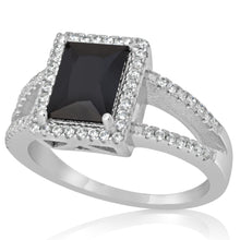 RZ-1667 Rectangular Princess Cut Split Shank CZ Ring - Black | Teeda