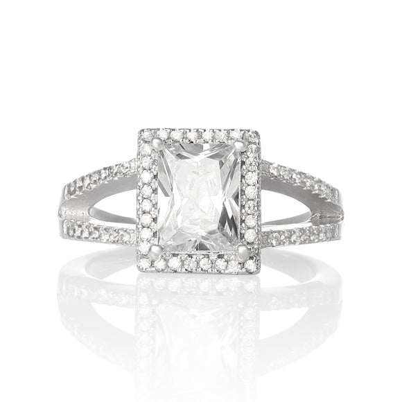 RZ-1667 Rectangular Princess Cut Split Shank CZ Ring - Clear | Teeda