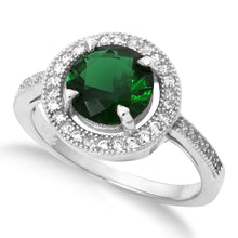 RZ-1671 Round Brilliant Cut Halo CZ Ring - Emerald | Teeda