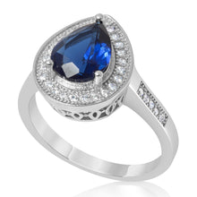 RZ-1686 Pear Shape Halo Cubic Zirconia Ring - Blue Sapphire | Teeda