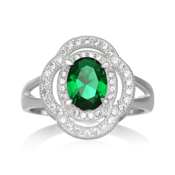 RZ-1688 Oval CZ Double Halo Ring - Emerald | Teeda