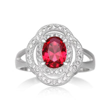 RZ-1688 Oval CZ Double Halo Ring - Ruby | Teeda