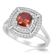 RZ-1691 Cushion Cut CZ Double Halo Ring - Garnet | Teeda