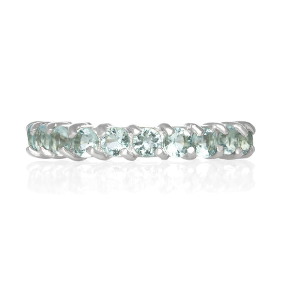 RZ-2025-AQ Prong Set CZ Eternity Band - Aqua | Teeda