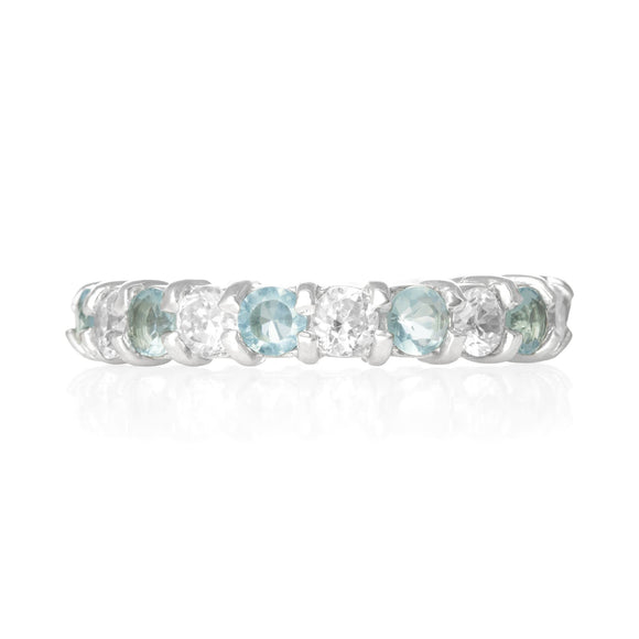 RZ-2025-AQC Prong Set CZ Eternity Band - Aqua-Clear | Teeda