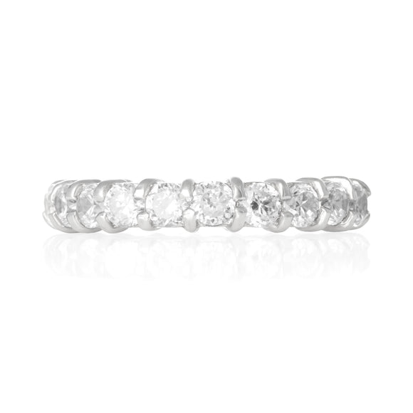 RZ-2025-C Prong Set CZ Eternity Band - Clear | Teeda