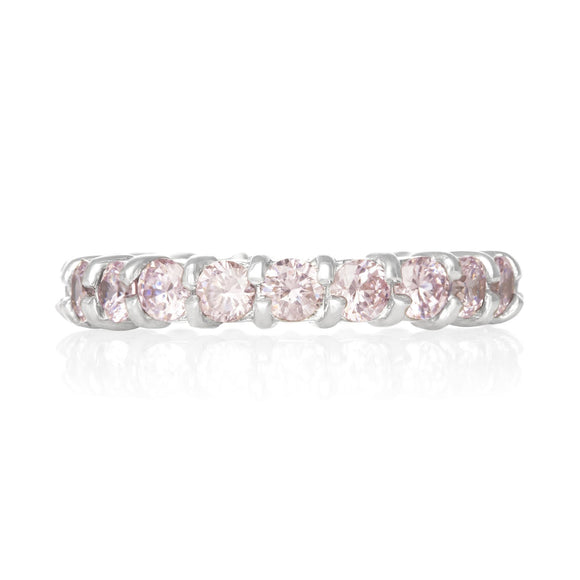 RZ-2025-P Prong Set CZ Eternity Band - Pink | Teeda
