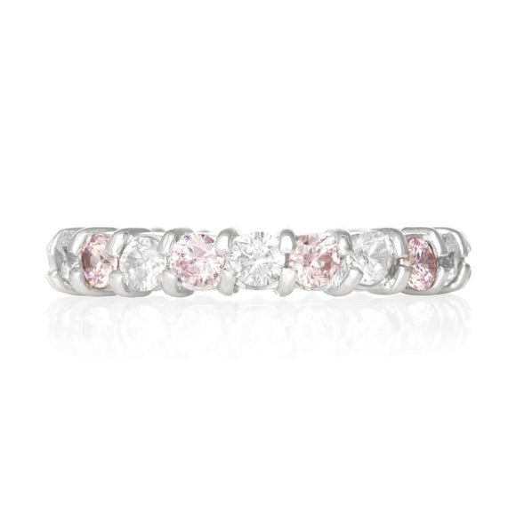 RZ-2025-PC Prong Set CZ Eternity Band - Pink-Clear | Teeda