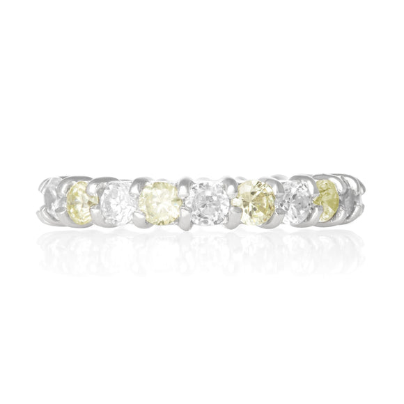 RZ-2025-PEC Prong Set CZ Eternity Band - Peridot-Clear | Teeda