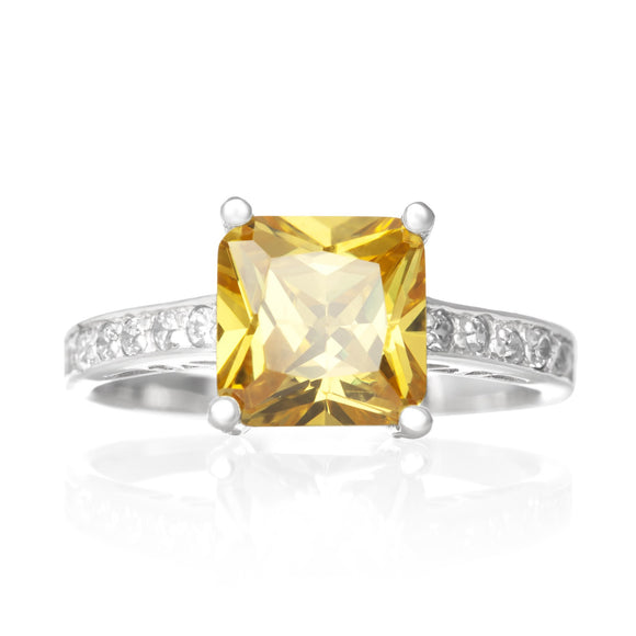 RZ-2050-Y Cubic Zirconia CZ Ring - Yellow Citrine | Teeda