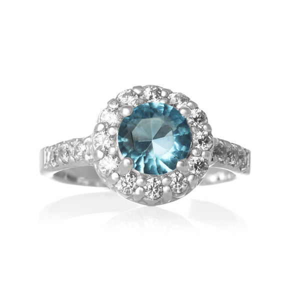 RZ-2360-AQ CZ Topiary Crown Ring - Aqua | Teeda