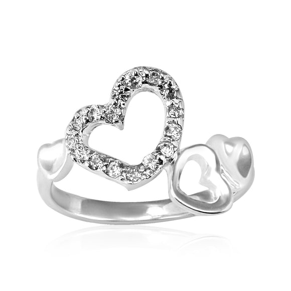RZ-3380 Open Hearts CZ Ring | Teeda