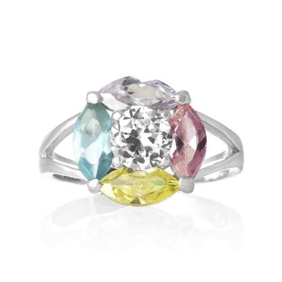 RZ-3470-MC Marquise Cut Flower CZ Ring - Multi-Color | Teeda