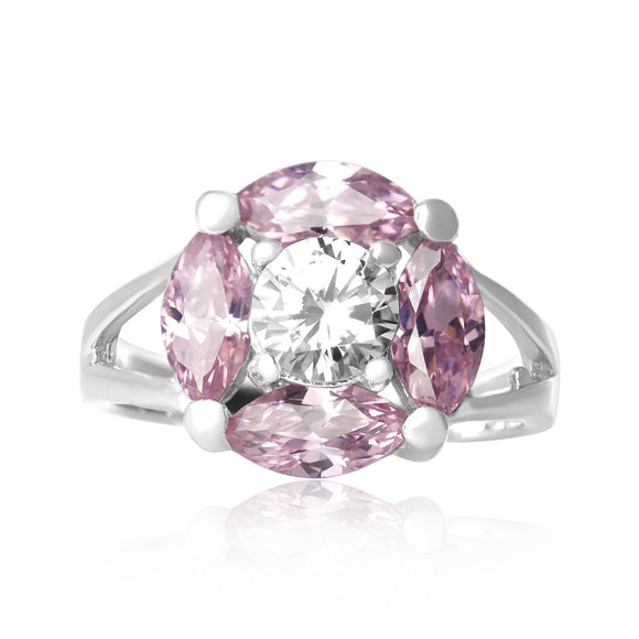 RZ-3470-P Marquise Cut Flower CZ Ring - Pink | Teeda