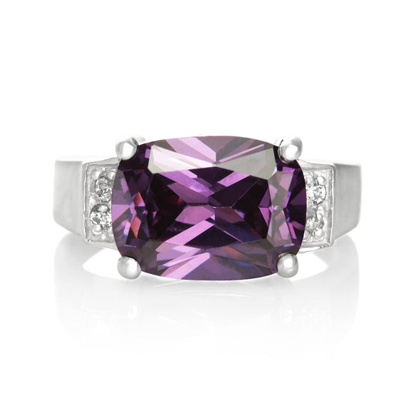 RZ-3480-AM Emerald Cut CZ Ring - Amethyst | Teeda