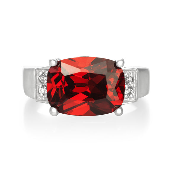 RZ-3480-GG Emerald Cut CZ Ring - Garnet | Teeda