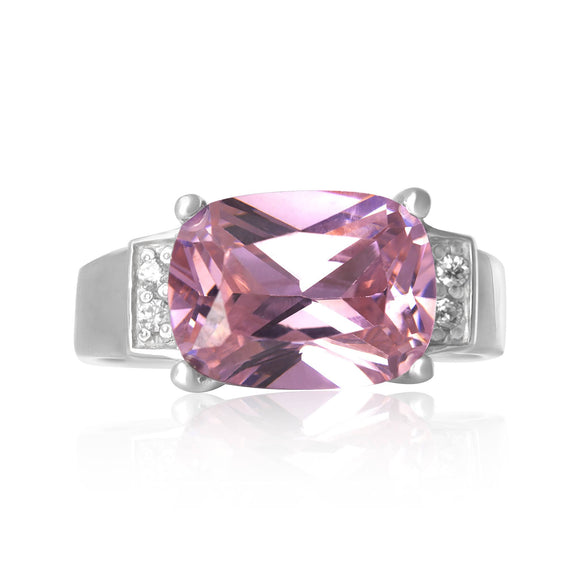 RZ-3480-P Emerald Cut CZ Ring - Pink | Teeda