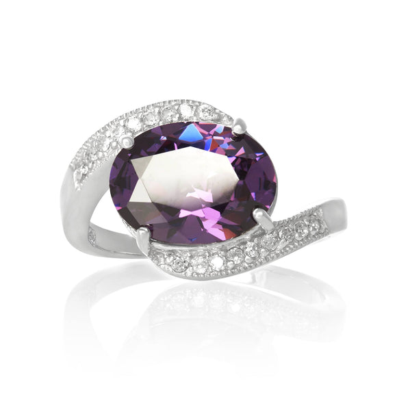 RZ-3490-AM Oval Cut CZ Ring - Amethyst | Teeda