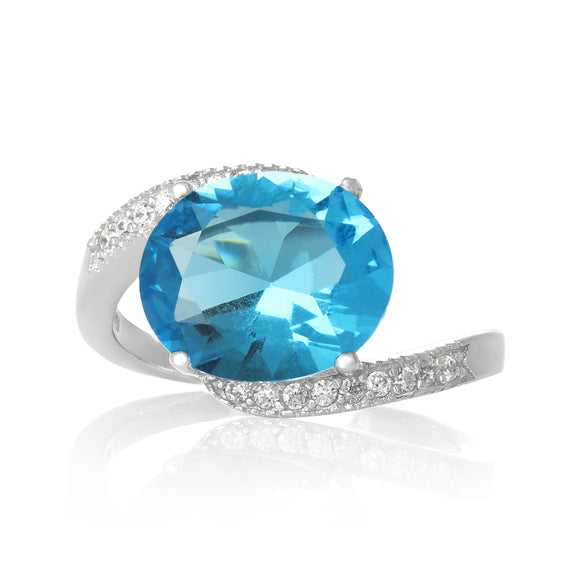 RZ-3490-AQ Oval Cut CZ Ring - Aqua | Teeda