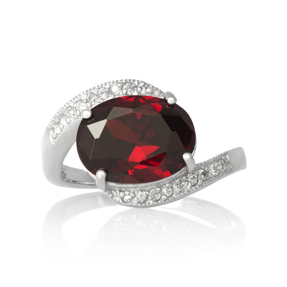 RZ-3490-GG Oval Cut CZ Ring - Garnet | Teeda