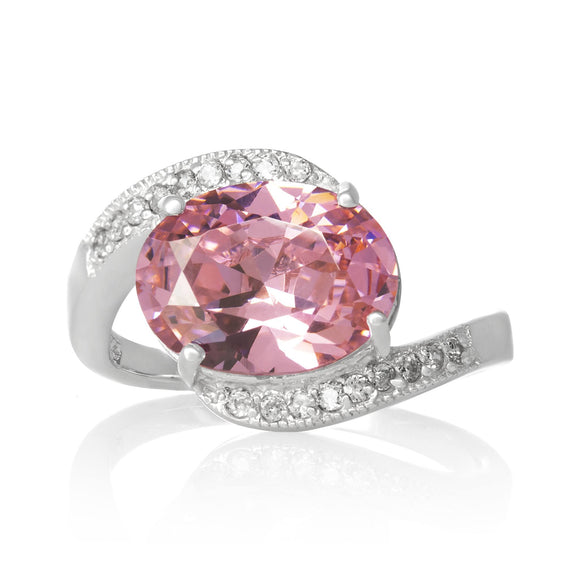 RZ-3490-P Oval Cut CZ Ring - Pink | Teeda