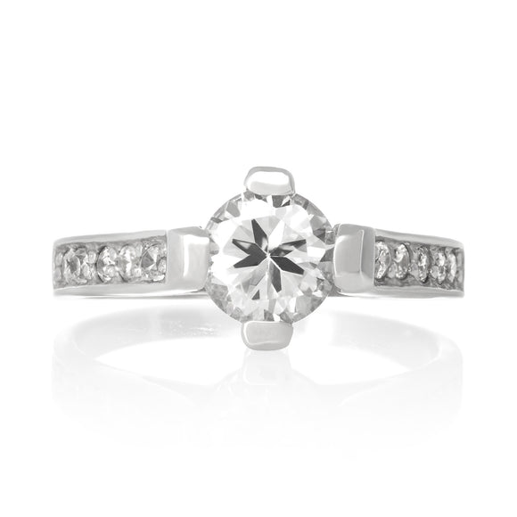 RZ-3540-C Linda Round Cut CZ Ring - Clear | Teeda