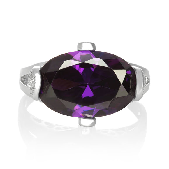 RZ-3580-AM Oval Cut CZ Ring - Amethyst | Teeda
