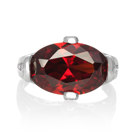 RZ-3580-GG Oval Cut CZ Ring - Garnet | Teeda