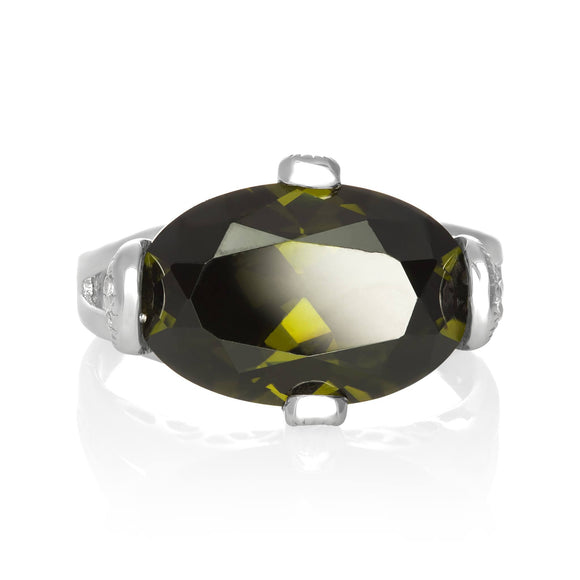 RZ-3580-O Oval Cut CZ Ring - Olive | Teeda
