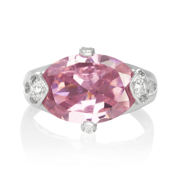 RZ-3580-P Oval Cut CZ Ring - Pink | Teeda