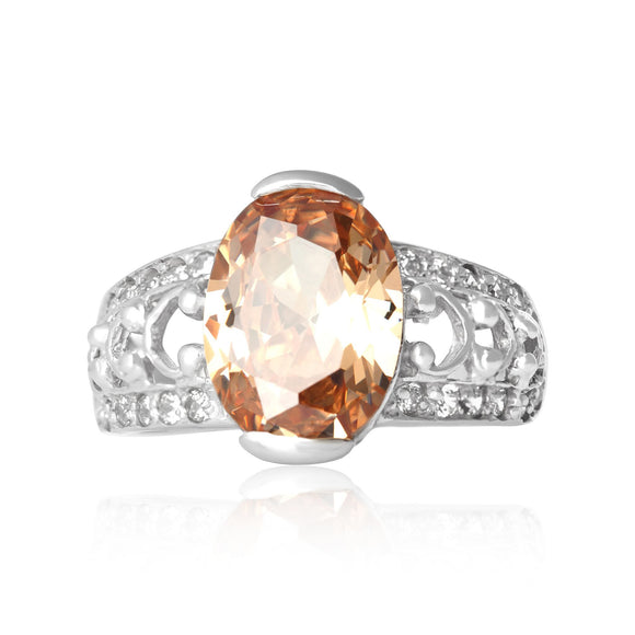 RZ-3590-CH Bertina Oval Cut CZ Ring - Champagne | Teeda