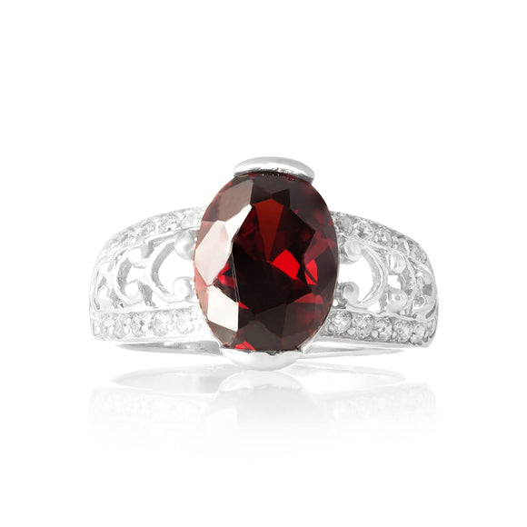 RZ-3590-GG Bertina Oval Cut CZ Ring - Garnet | Teeda