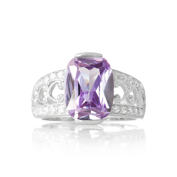 RZ-3590-L Bertina Oval Cut CZ Ring - Lavender | Teeda